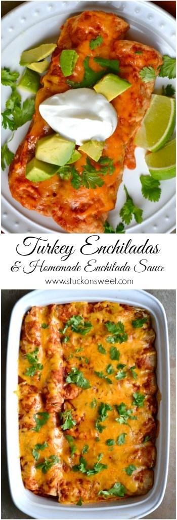 Turkey Enchiladas & Homemade Enchilada Sauce | www.stuckonsweet.com