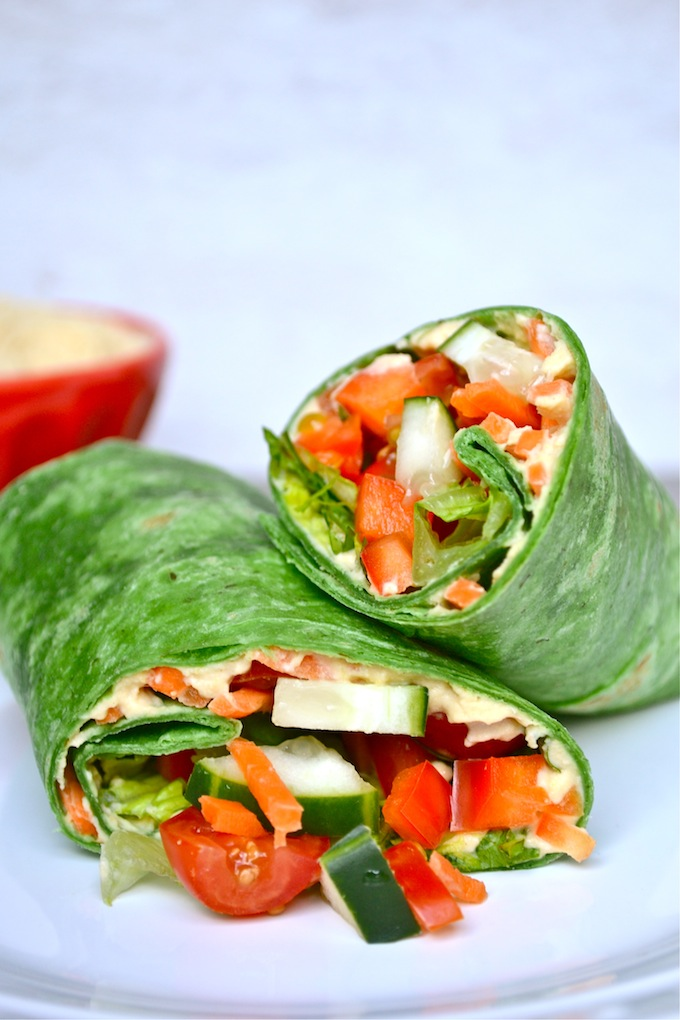 Vegetable Hummus Wrap | stuckonsweet.com
