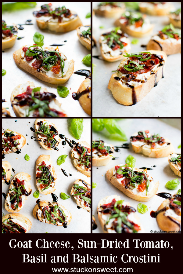 Goat Cheese and Sun Dried Tomato Crostini is a quick and easy appetizer. #stuckonsweet #appetizer #recipe #easy