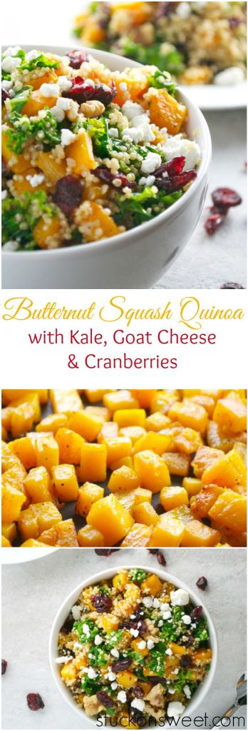 Butternut Squash Quinoa with Kale, Goat Cheese and Cranberries   stuckonsweet.com