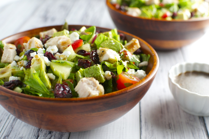 Italian Chicken Salad with Vegetables, Cranberries and Goat Cheese   stuckonsweet.com