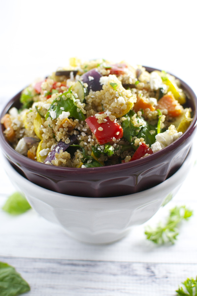 Roasted Vegetable Quinoa Salad 1| stuckonsweet.com