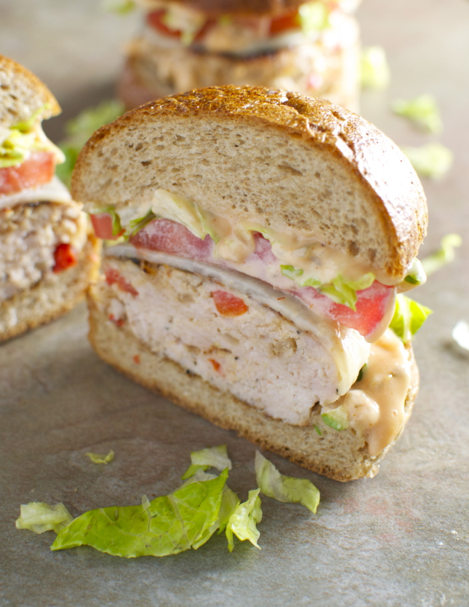 Turkey Cheeseburgers with Provolone and Thousand Island Dressing - stuckonsweet.com