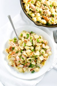 Salmon, Pea and Bacon Pasta