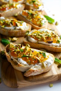 Goat Cheese and Apricot Crostini with Pistachios and Mint