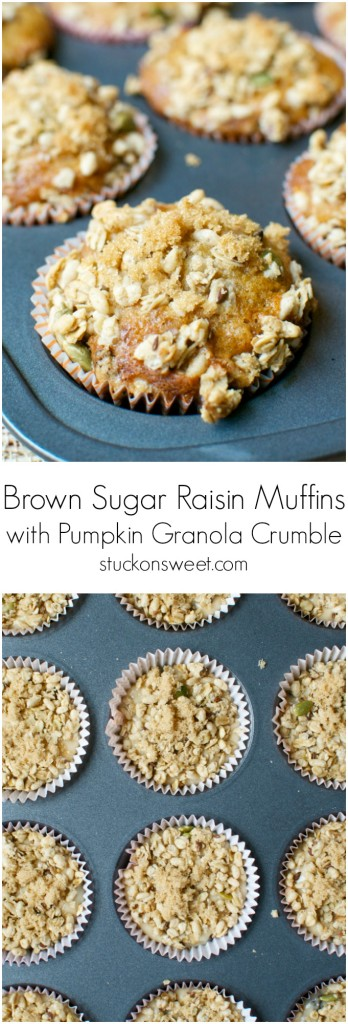 Brown Sugar Raisin Muffins with Pumpkin Granola Crumble | stuckonsweet.com