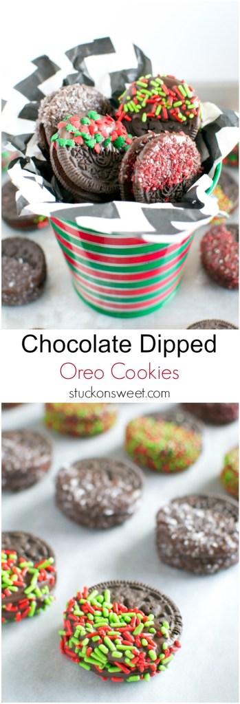 Chocolate Dipped Oreo Cookies   stuckonsweet.com
