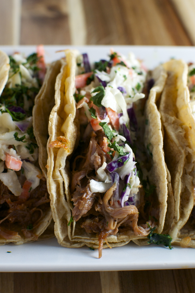 Barbecue Pork Tacos with Honey Mustard Slaw| www.stuckonsweet.com
