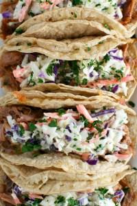 Barbecue Pork Tacos with Honey Mustard Slaw | www.stuckonsweet.com