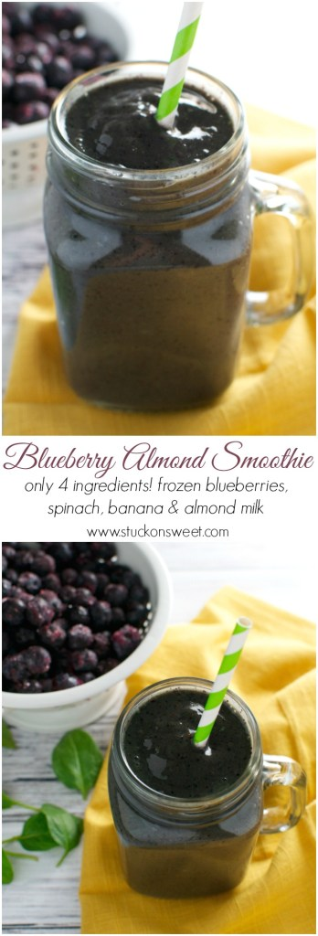 Blueberry Almond Smoothie - only 4 ingredients and healthy! | www.stuckonsweet.com
