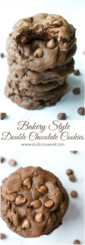 Bakery Style Double Chocolate Cookies. Rich, Fudgy chewy cookies that taste and look like they were baked at your local bakery!   www.stuckonsweet.com
