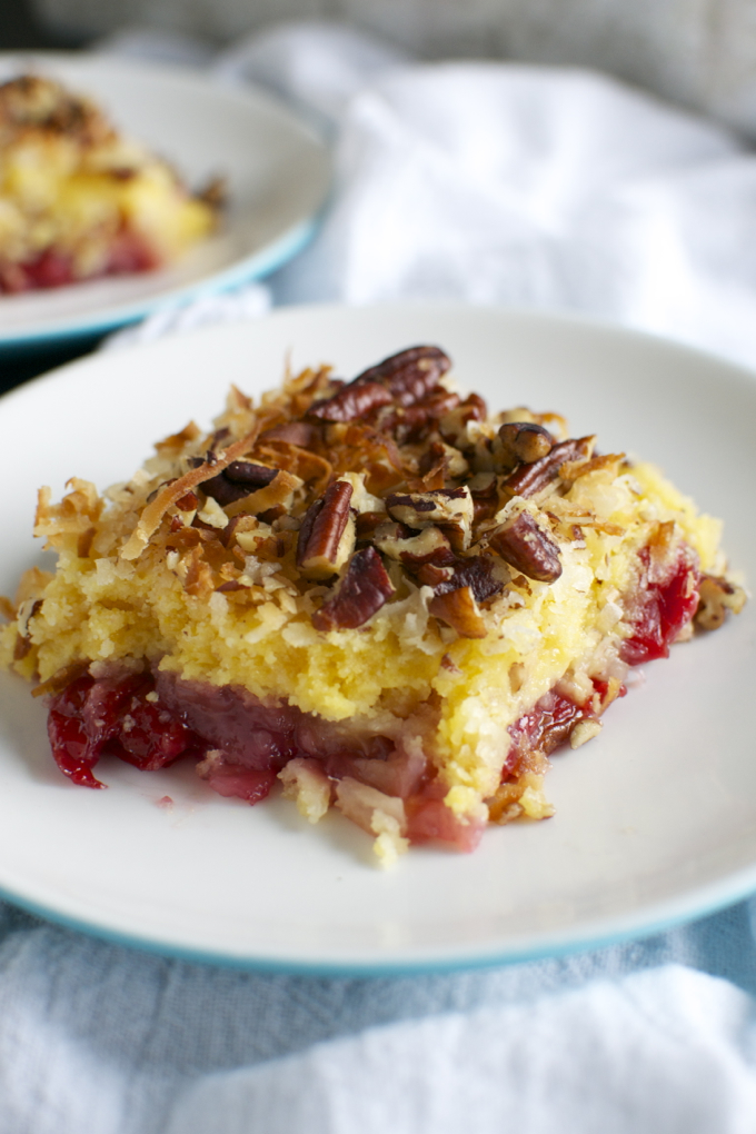 Cherry Pineapple Dump Cake | www.stuckonsweet.com