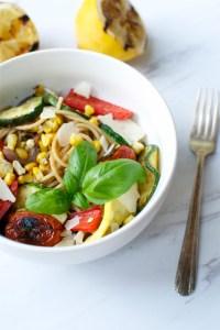 Grilled Summer Vegetable Pasta | www.stuckonsweet.com