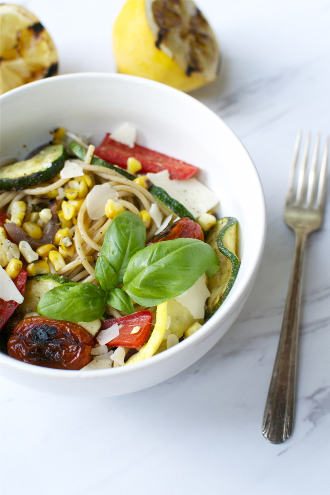 Grilled Summer Vegetable Pasta | www.stuckonsweet.com