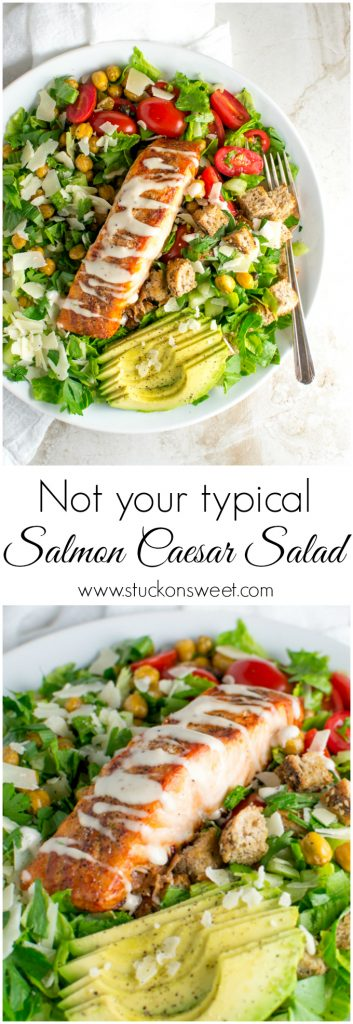 Salmon Caesar Salad | www.stuckonsweet.com
