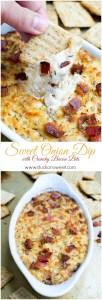 Sweet Onion Dip with Crunchy Bacon Bits | www.stuckonsweet.com