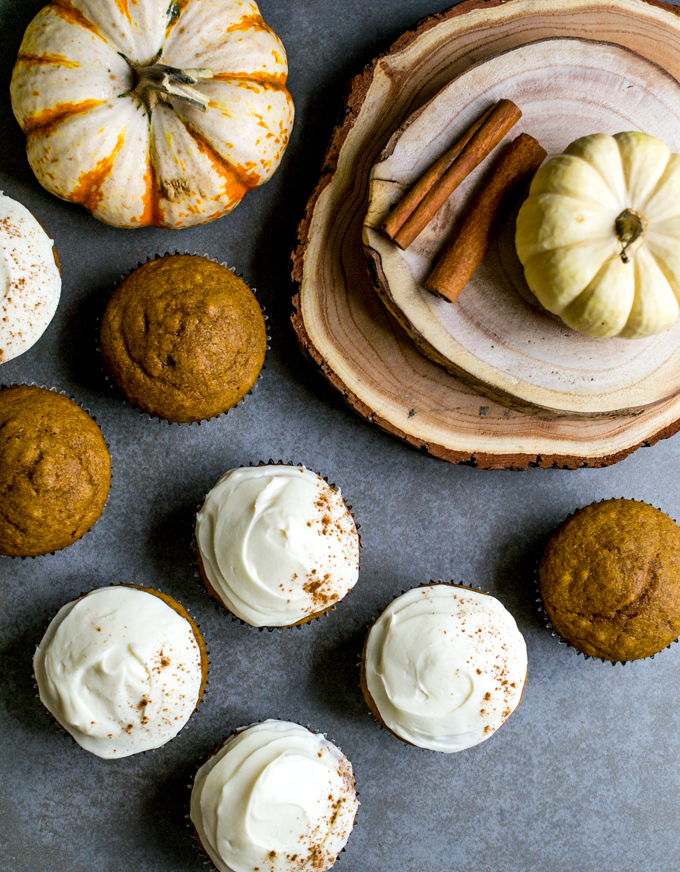 Pumpkin Cupcakes with Cream Cheese Frosting | www.stuckonsweet.com