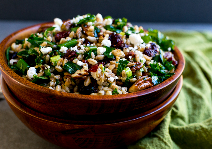 Farro Salad with Kale, Cranberries, Pecans and Goat Cheese | www.stuckonsweet.com