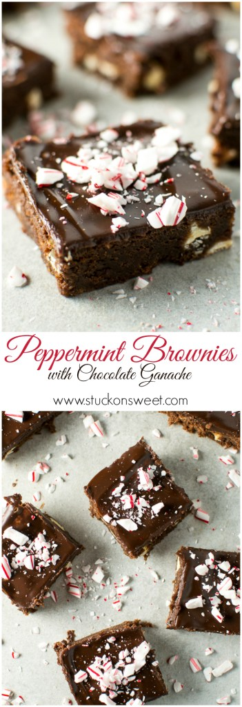 Peppermint Brownies with Chocolate Ganache - the perfect Christmas dessert! | www.stuckonsweet.com