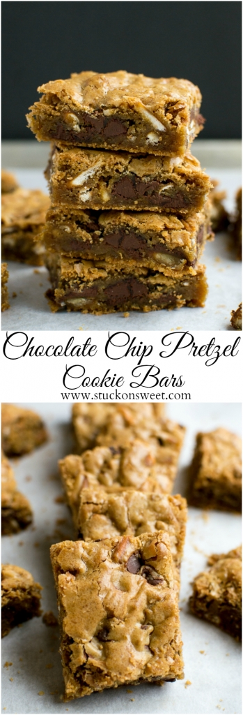 Chocolate Chip Pretzel Cookie Bars | www.stuckonsweet.com