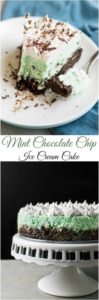 Mint Chocolate Chip Ice Cream Cake   www.stuckonsweet.com