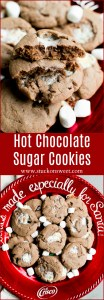 Hot Chocolate Sugar Cookies - a simple sugar cookie recipe made with hot chocolate mix, cocoa and marshmallows! These are the perfect holiday cookie recipe!