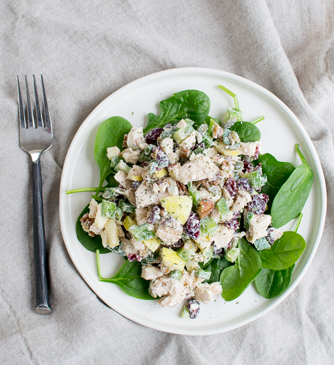 Photo of Chicken Salad over Spinach