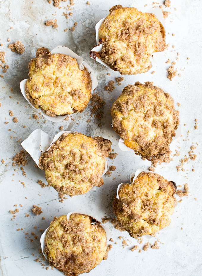 picture of coffee cake muffins on white back drop