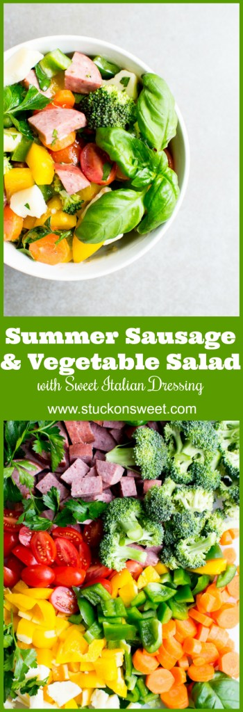 The easiest salad you will ever make. Summer Sausage and Vegetable Salad is great for lunch or as a side dish!