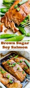 The easiest weeknight dinner you will ever make! Salmon is baked in a brown sugar soy sauce marinade and served with a green vegetable. This is delicious!