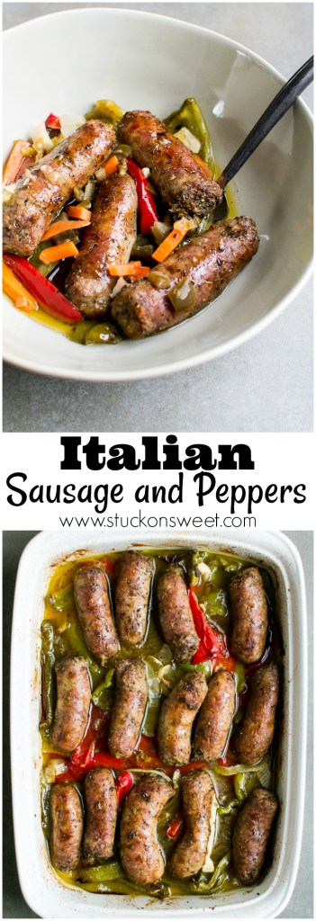 Roasted talian Sausage and Peppers. Such an easy weeknight meal that's requires minimal preparation and clean up! Love this dinner!