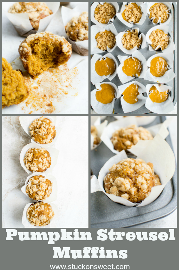 Pumpkin Muffins with a crumbly streusel topping is the perfect Fall dessert! #stuckonsweet #pumpkin #baking