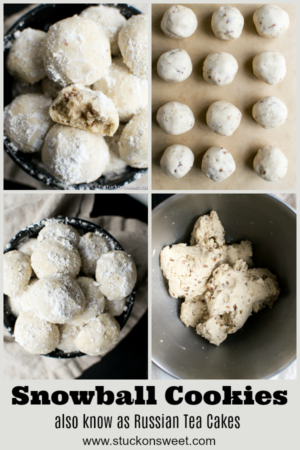 Snowball Cookies (aka Russian Tea Cakes) are the perfect holiday/Christmas cookie. #stuckonsweet #cookies #christmas
