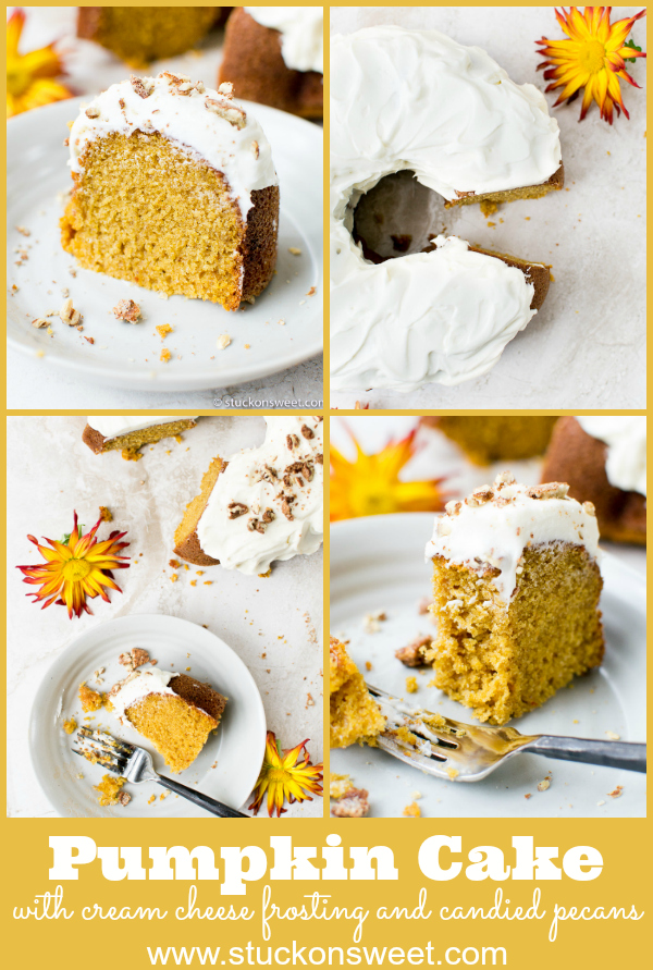 Pumpkin Bundt Cake with Cream Cheese Frosting is there perfect Thanksgiving dessert. This recipe is delicious! #stuckonsweet #thanksgiving #pumpkincake