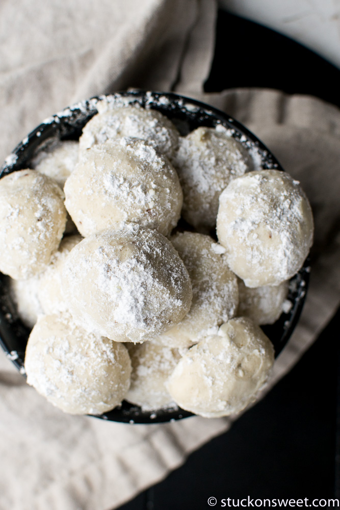 snowball cookies in a bowl