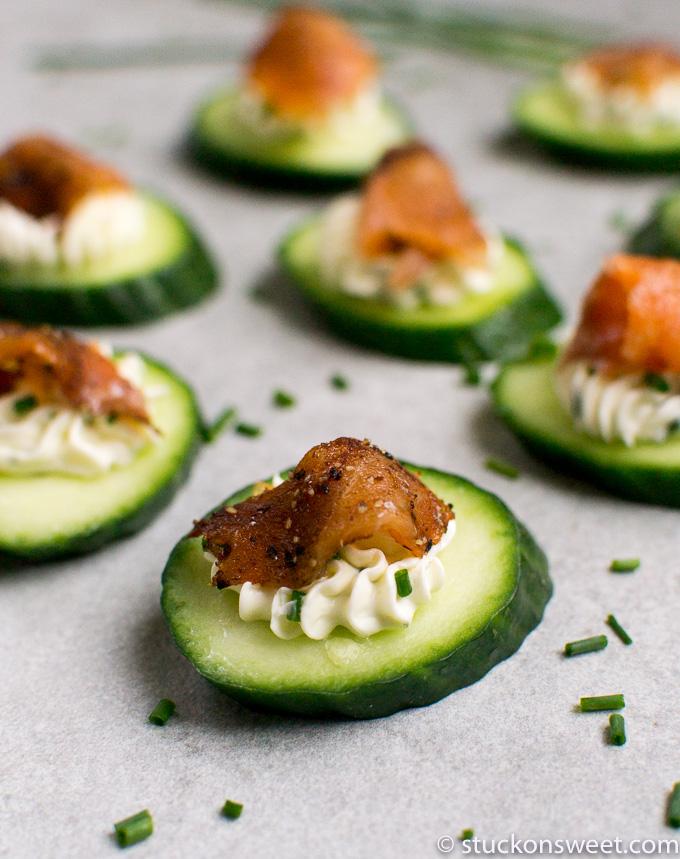 Cucumber Smoked Salmon Bites with Chive Cream Cheese