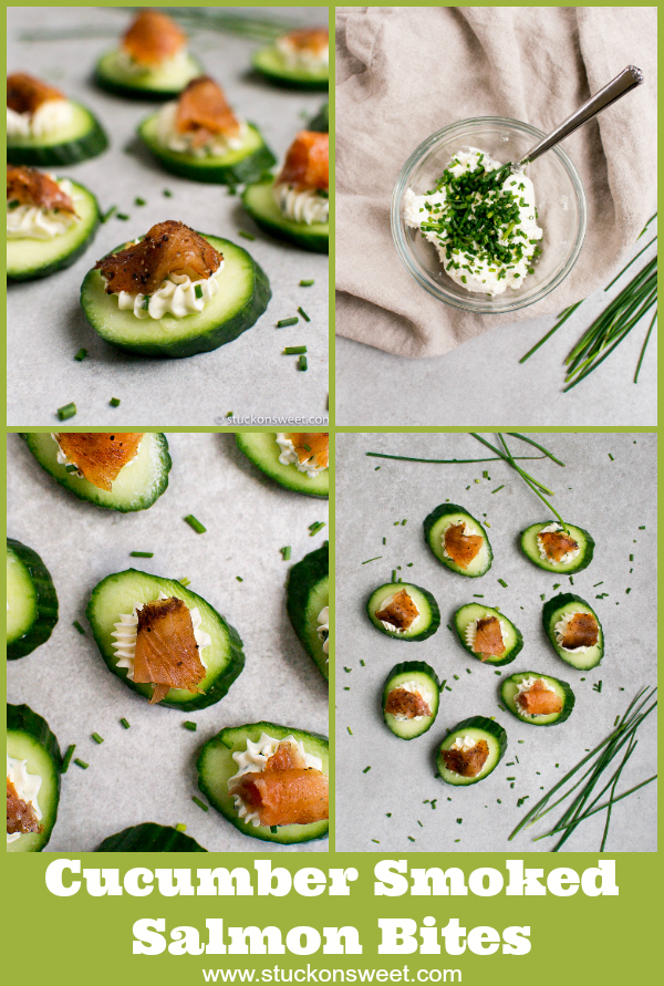 Cucumber Smoked Salmon Bites are the perfect appetizer! Chive cream cheese, cucumbers and smoked salmon are all that you need! #stuckonsweet #appetizer #recipe