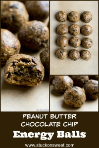 Peanut Butter Chocolate Chip Energy Balls are easy, healthy and taste amazing! #stuckonsweet #healthyrecipe #energy