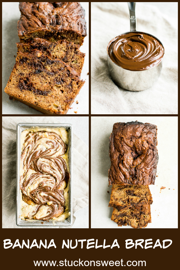 Banana Nutella Bread is a recipe you must make! Nutella is swirled throughout the banana bread batter then baked. It's so good! #bananabread #recipe #nutella #stuckonsweet