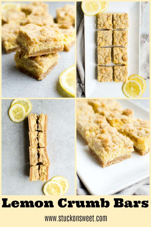 Lemon Crumb Bars are the perfect Spring and Easter Dessert. #stuckonsweet #spring #dessert #lemon