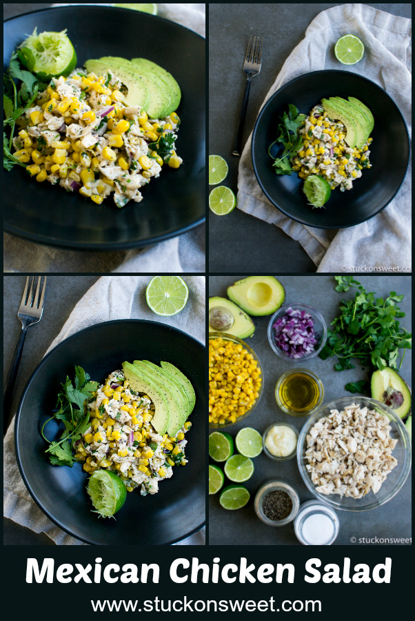 Mexican Chicken Salad - love this simple and healthy recipe! #healthy #stuckonsweet #recipe #chickensalad