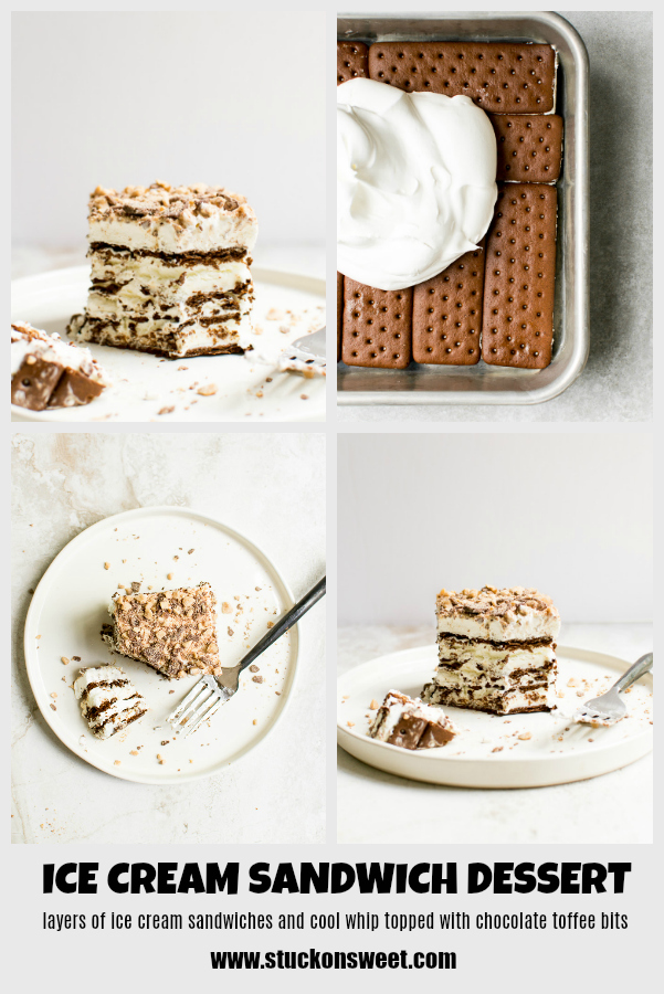 Best and easiest frozen dessert recipe! Ice Cream Sandwiches, cool whip and toffee bits make the most delicious dessert ever! #stuckonsweet #dessert #recipe #icecream