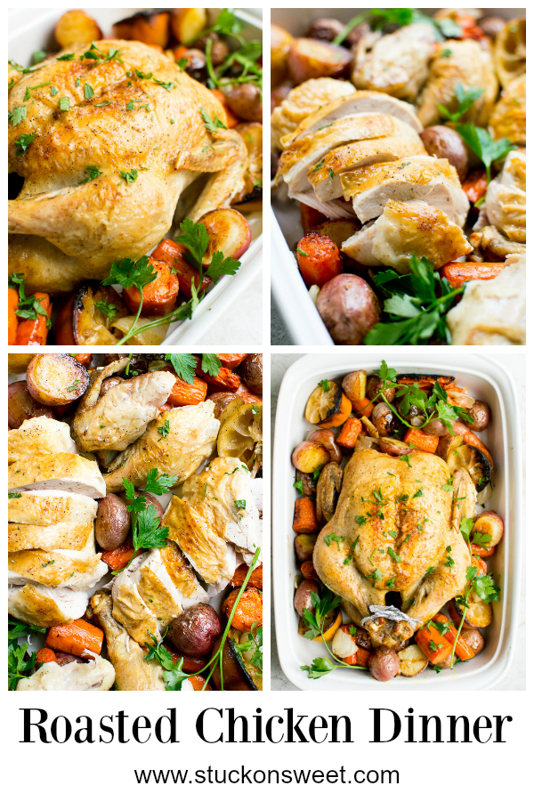 Roasted Chicken Dinner is a one pan meal that is easy, healthy and delicious. This is a perfect weeknight recipe! #stuckonsweet #chicken #recipe #weeknightmeal