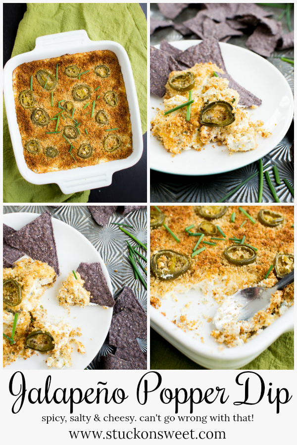 Jalapeño Popper dip is the perfect appetizer for Super Bowl! It's easy to make and tastes awesome! #stuckonsweet #appetizer #footballfood #superbowl