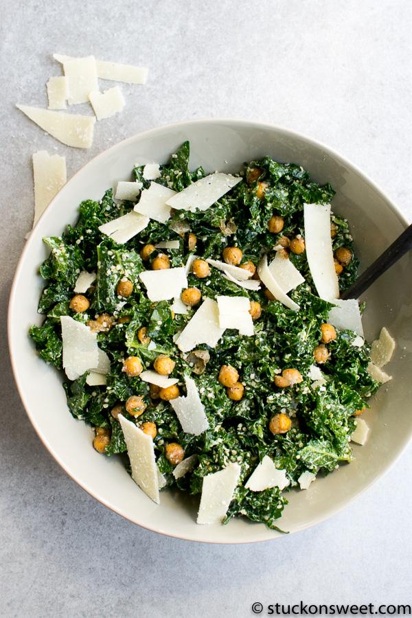 Kale and Chickpea Caesar salad Recipe