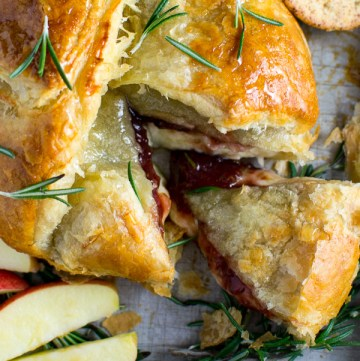 Baked Brie with raspberry and rosemary jam