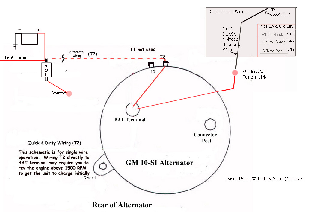gm one wire alternator conversion gm alternator diagram