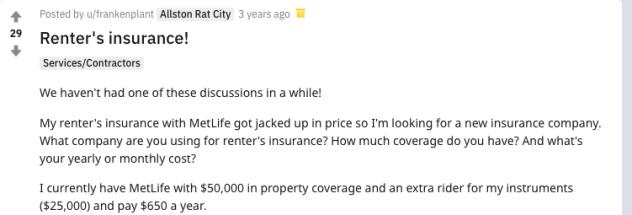 MetLife Renters Insurance Reddit
