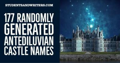177 Randomly Generated Antediluvian Castle Names