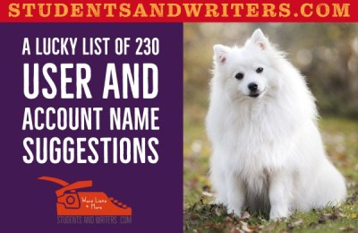 A lucky list of 230 user and account name suggestions